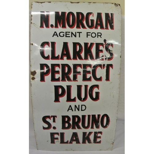 183 - Large enamel advertising sign 'N Morgan- Clarke's Perfect Plug..'...
