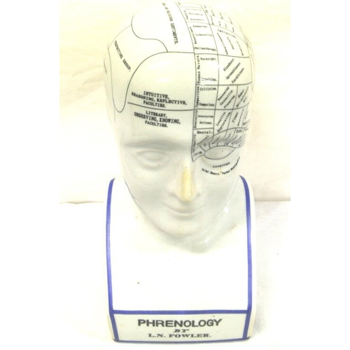 184 - Porcelain Phrenology head by L N Fowler showing areas of the brain...