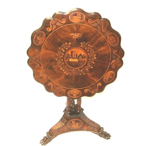 190 - Irish Killarneyware 'Muckross House' inlaid arbutus and yew marquetry table with tip-up top, serpent...