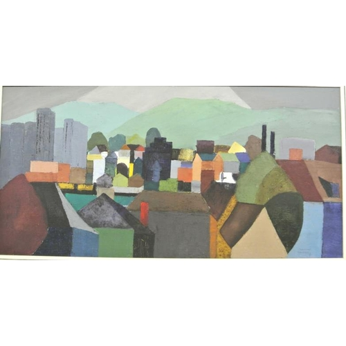 200 - Christine Fielding  'Cityscape'  oil on canvas,  37 x 75cm, signed...