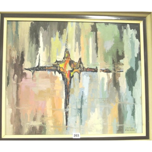 203 - Christine Fielding  'Abstract'  oil on board 48 x 59 signed...