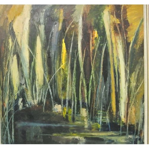 205 - Christine Fielding  'Figures in a wood'  oil on board 59 x 59cm signed...