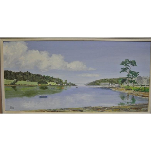 208 - Terence Attridge Williams  'Owenabue river, Currabinny and Crosshaven' oil on board 36 x 75 signed...