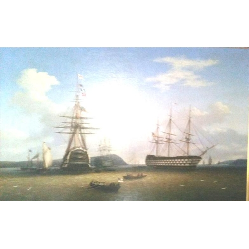 210 - George Mounsey Wheatley Atkinson 'The visit of the Royal Squadron to Cork Harbour' 85 x 130cm oil on...