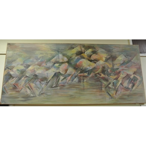 214 - Lorraine Wall  'Abstract'  Pastels 202 x 94cm signed and dated 1978...