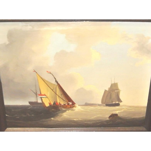 218 - Dutch school  'Sailing offshore'   oil on canvas 45 x 60cm...