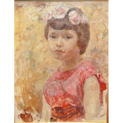 219 - Edith Morgan  'Flower Girl'  oil on canvas 30 x 38 Oriel Gallery stamp...
