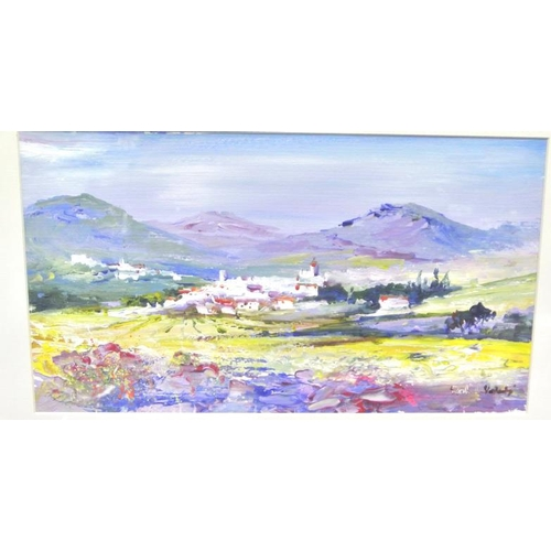 220 - R L Valente 'Continental scenes' pair of oils on board 18 x 33cm each signed...