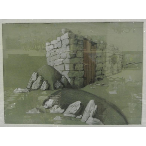 228 - Irish school  'Study of a stone wall ' pastels 45 x 60 signed indistinctly...