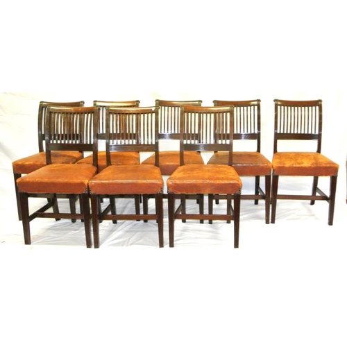 240 - Set of 8 Cork 11-bar mahogany dining chairs with reeded bars and rails, leather upholstered seats, o...