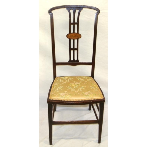 241 - Edwardian inlaid mahogany occasional chair with shaped splat, foliate upholstered seat, on tapering ...