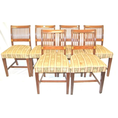 242 - Set of 6 Cork 11-bar inlaid mahogany dining chairs with reeded bars and rails, string and box inlay,...