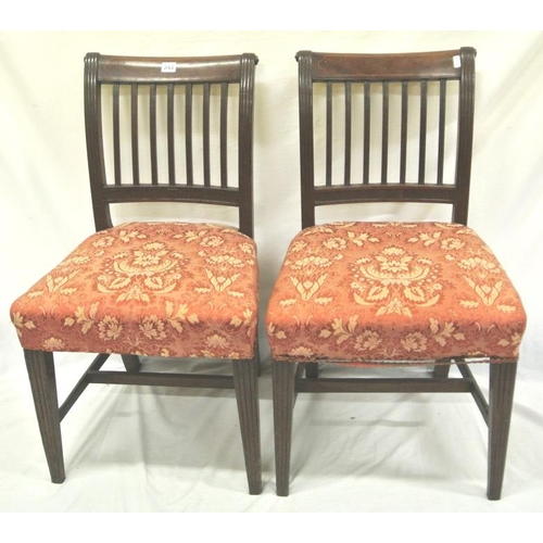 243 - Pair of Cork 7 bar inlaid mahogany dining chairs with reeded rails and bars, foliate upholstered sea...