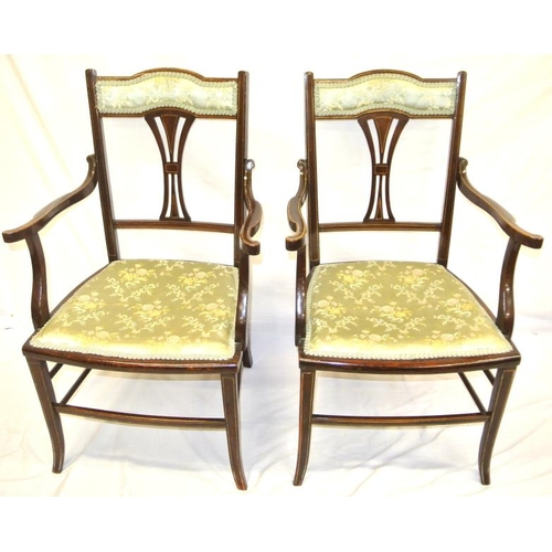 244 - Pair of Edwardian inlaid mahogany armchairs with reeded splats and arms, upholstered seats, on cabri...