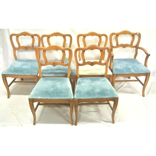 247 - Set of 6 American walnut dining chairs with shaped rails, upholstered seats, on shaped legs...