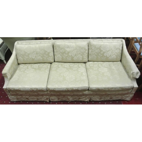 249 - American timber framed 3 seater couch with foliate upholstery and cushions...
