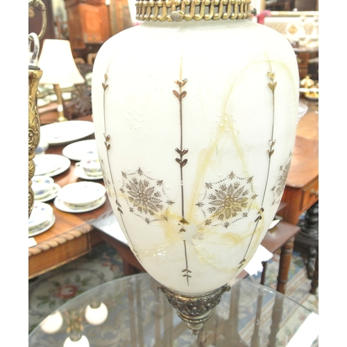 187 - Pair of ornate French style  white glass hanging lanterns with foliate decoration and ormolu mounts....