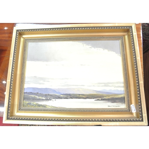 232 - Denis McDowell 'Evening Connemara' and ' Currachs nd Cottages' Pair of oils on canvas 25 x 35 each, ...