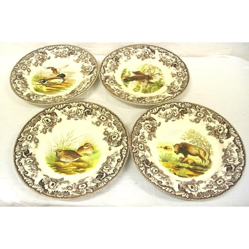 47 - Set of 4 Spode 'Woodland' pattern plates decorated with foliage and animals...