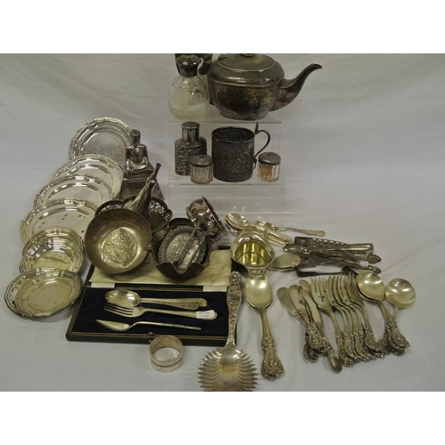 8 - Assorted lot of silver plated items in box...