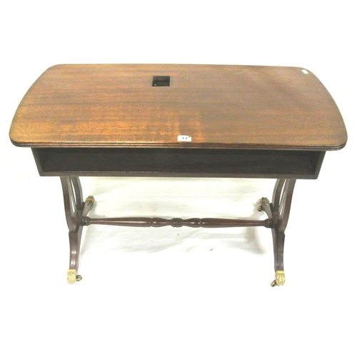 16 - Edwardian mahogany coffee table or stand with reeded borders, on lyre supports...