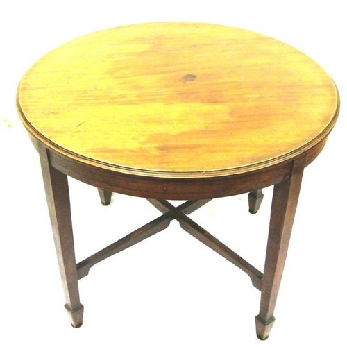 50 - Victorian circular occasional or centre table with curved borders, on tapering legs with spade feet ...