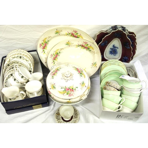 1 - Assorted lot of porcelain, glassware, etc in box...