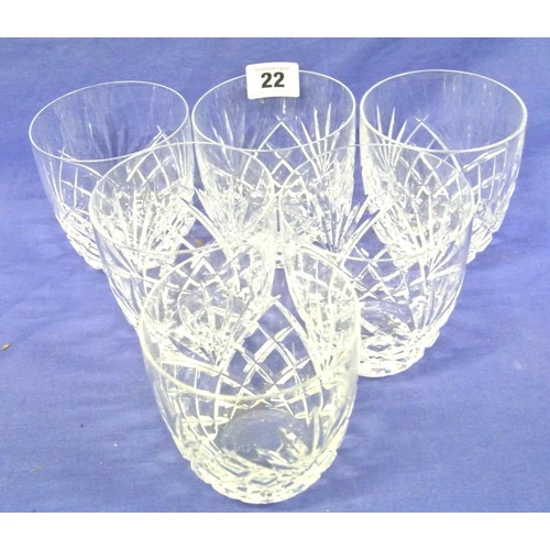 22 - Set of six Galway Crystal tumblers with diamond decoration...
