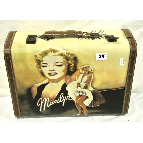 39 - Ornate timber small suitcase with Marylin Monroe decoration...