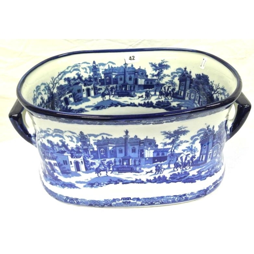 42 - Victorian style Ironstone bowl or foot bath with scenic decoration...