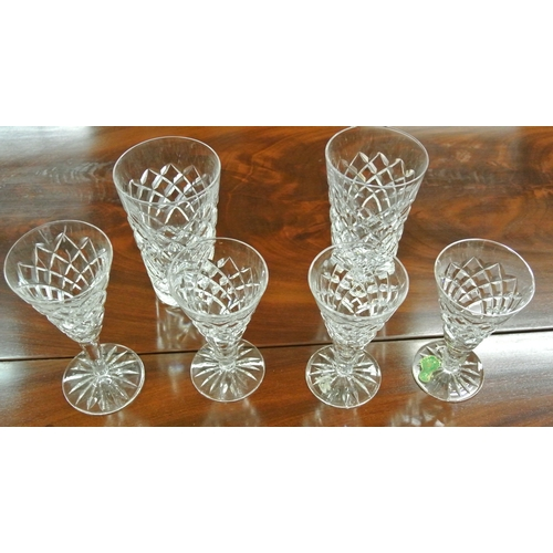 7 - Six assorted Waterford Crystal glasses...