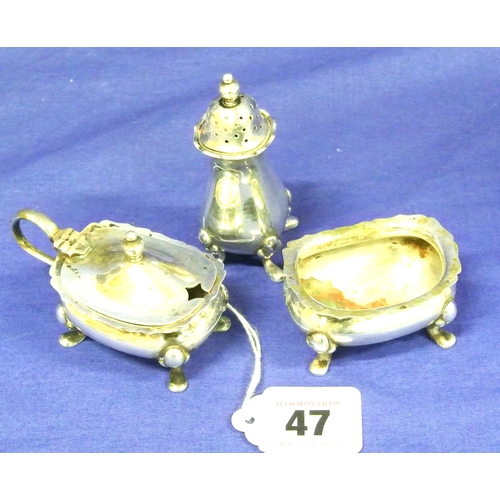 47 - 3 piece silver plated condiment set, 130g...