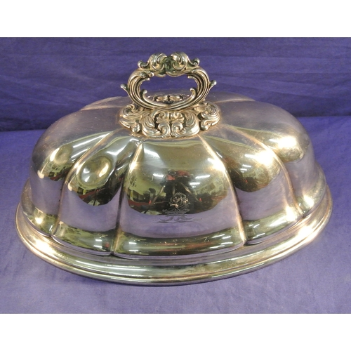 24 - Silver plated oval domed dish cover of melon form...