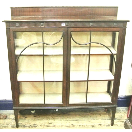 15 - Edwardian mahogany display cabinet with reeded back and frieze, astragal glazed doors, shelved inter...