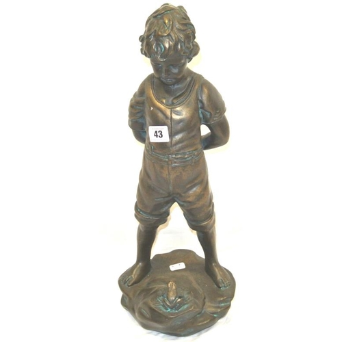 29 - Victorian style figure of a boy with frog on shaped base...