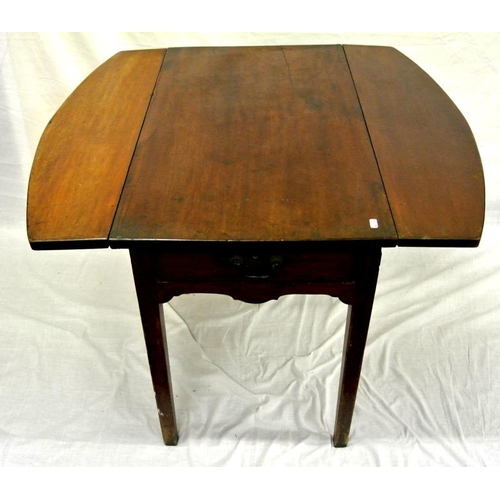 44 - Edwardian mahogany dropleaf table with frieze drawer, on square legs...