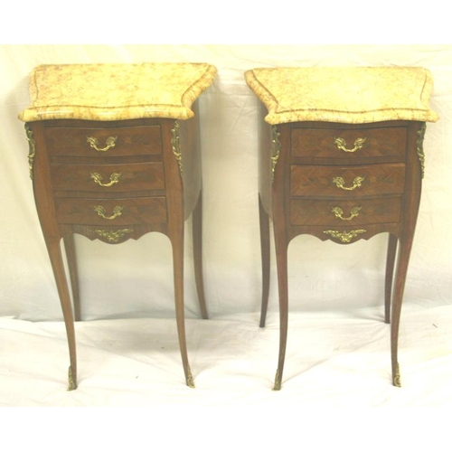 13 - Pair of Louis XV style satinwood bedside chests with three drawers, ormolu mounts, shaped marble top...