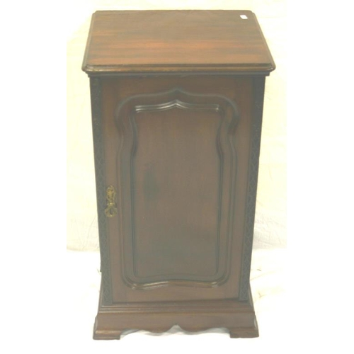 19 - Victorian mahogany bedside locker with panelled door, brass drop handle, on plinths H76X42X37...