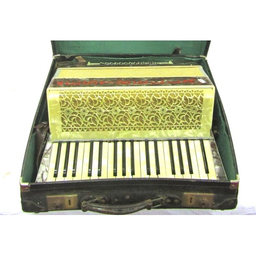 42 - Old 'Estrella' accordion with leather carrying case...