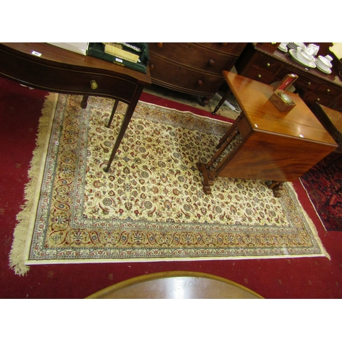 32 - Ivory ground Kashmir rug with all over floral design and unique gold border 240 x 160cm...