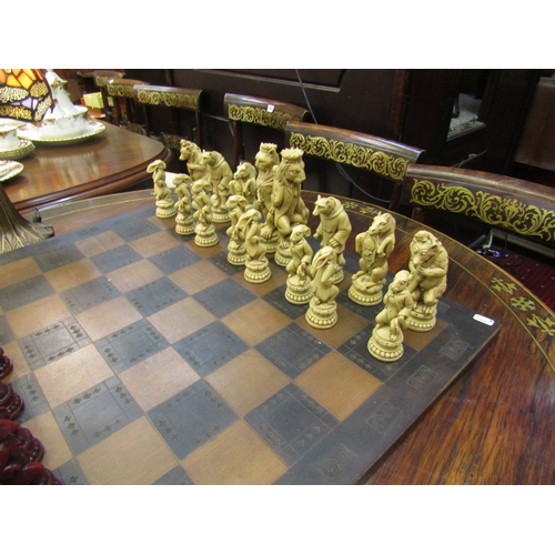 53 - Ornate Victorian style chess set with pieces in the form of animals...
