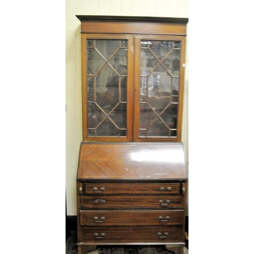 15 - Edwardian inlaid and crossbanded mahogany bureau bookcase with astragal glazed doors, shelved interi...