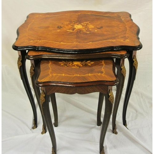 38 - Nest of three ornately inlaid walnut tables with foliate and string inlay, ormolu mounts, on cabriol...