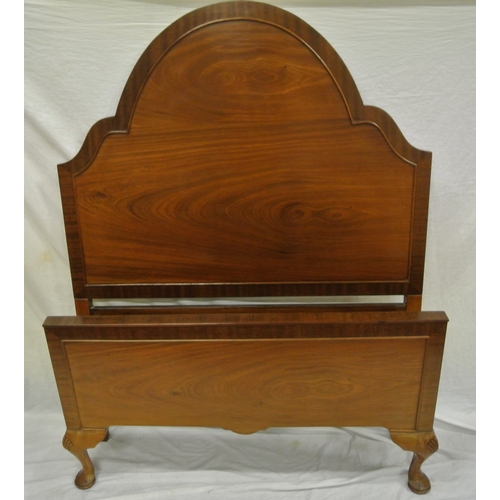 4 - Two pairs of mahogany bed ends with domed headboards and side irons...