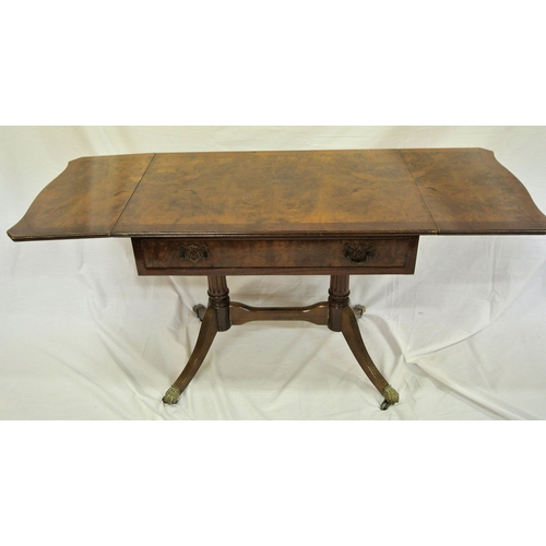 46 - Edwardian style coffee or low sofa table with drop leaves, pull-out support, drawer with brass drop ...
