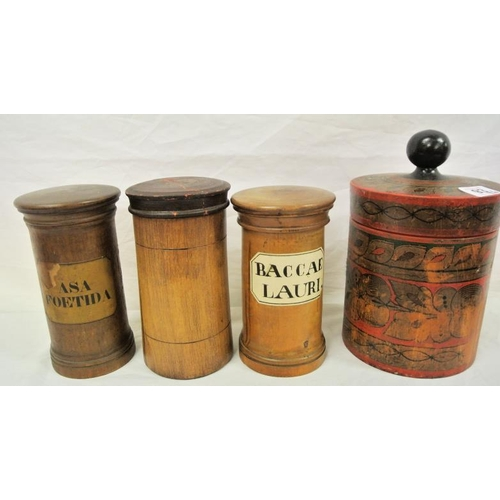 2 - Four circular timber biscuitaires or spice jars with lids