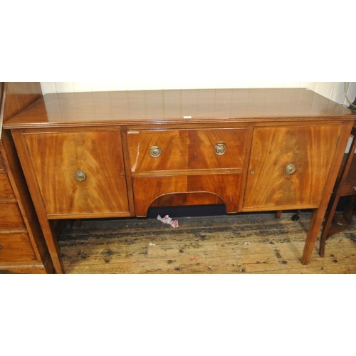 5 - Edwardian style mahogany sideboard with reeded border, frieze drawer, napery drawer, two side presse...