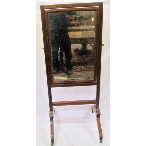 9 - Regency design cheval mirror with reeded border and stretcher, on shaped legs