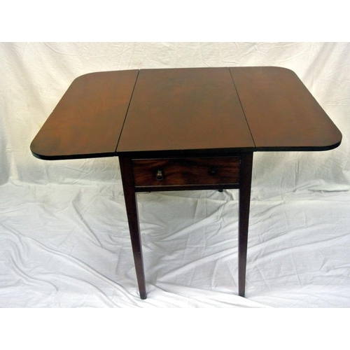 56 - Edwardian mahogany Pembroke table with drop leaves, rounded borders, pull-out supports, on square ta...