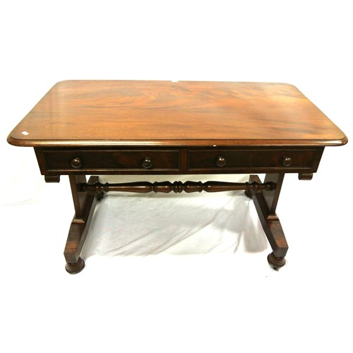 60 - Victorian mahogany library or hall table with rounded borders, two frieze drawers, angled columns, o...